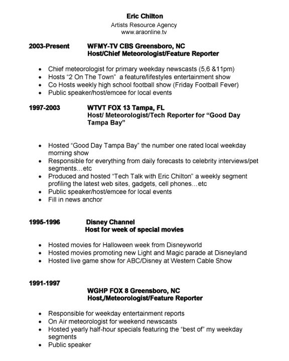 chilton eric resume - Meteorologist Resume